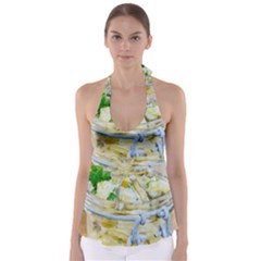 Potato salad in a jar on wooden Babydoll Tankini Top