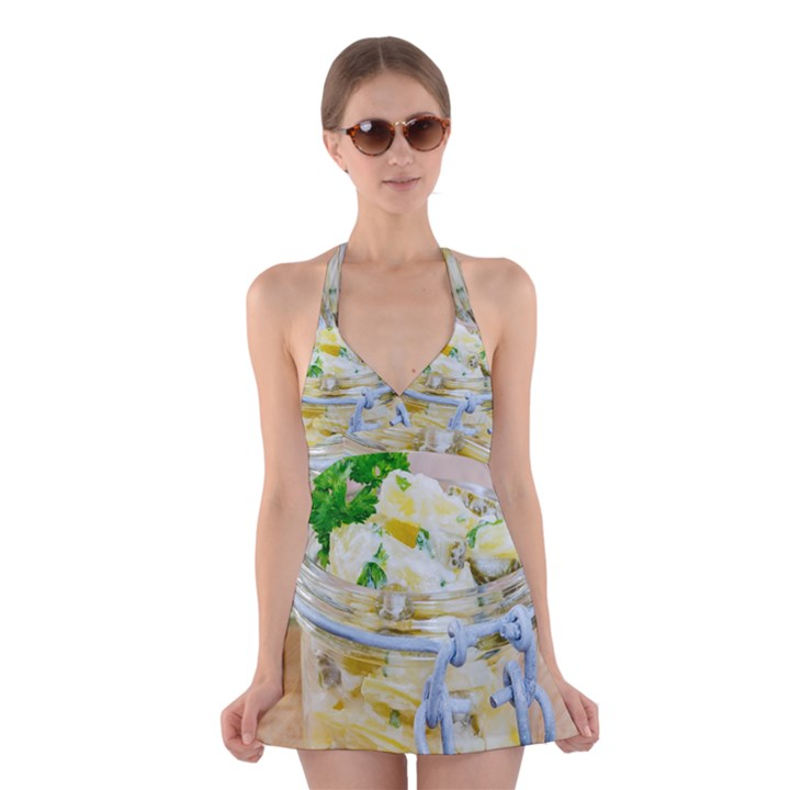 Potato salad in a jar on wooden Halter Swimsuit Dress
