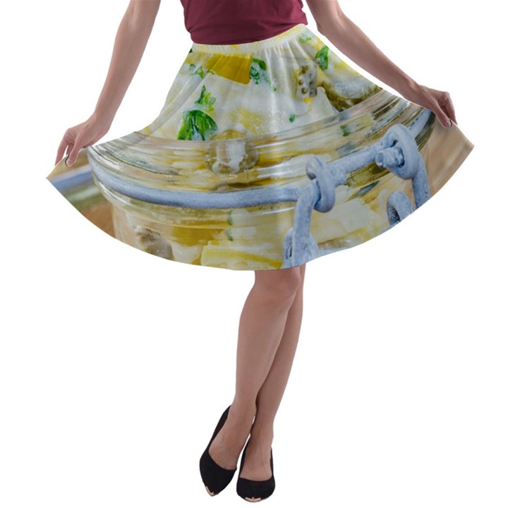 Potato salad in a jar on wooden A-line Skater Skirt