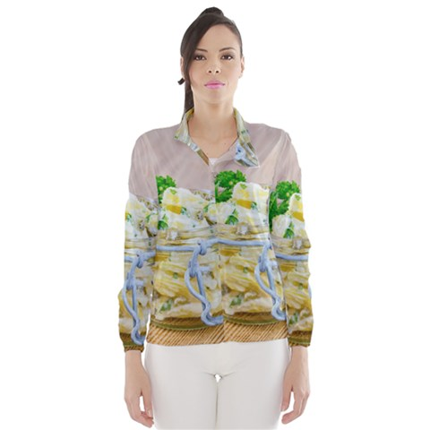 Potato salad in a jar on wooden Wind Breaker (Women)