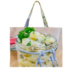 Potato salad in a jar on wooden Large Tote Bag