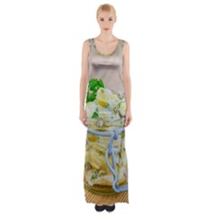 Potato salad in a jar on wooden Maxi Thigh Split Dress