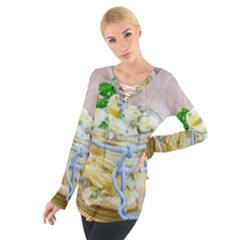 Potato Salad In A Jar On Wooden Women s Tie Up Tee