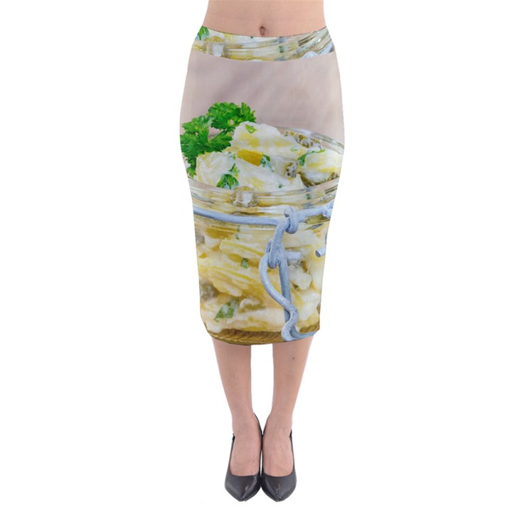 Potato salad in a jar on wooden Midi Pencil Skirt