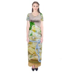 Potato Salad In A Jar On Wooden Short Sleeve Maxi Dress