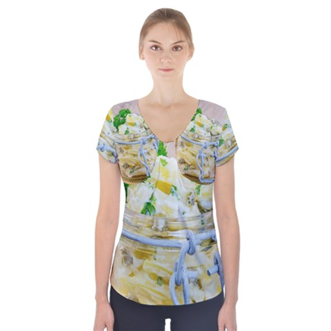 Potato salad in a jar on wooden Short Sleeve Front Detail Top