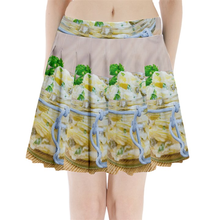 Potato salad in a jar on wooden Pleated Mini Skirt
