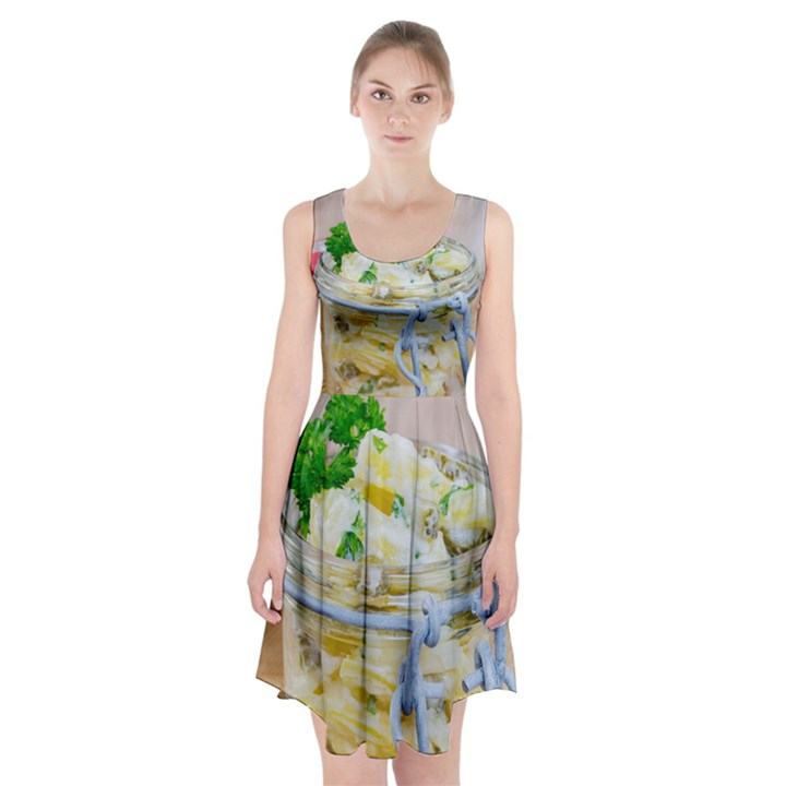 Potato salad in a jar on wooden Racerback Midi Dress