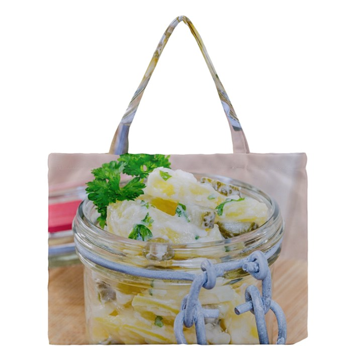 Potato salad in a jar on wooden Medium Tote Bag
