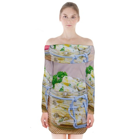 Potato salad in a jar on wooden Long Sleeve Off Shoulder Dress