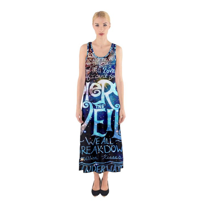 Pierce The Veil Quote Galaxy Nebula Sleeveless Maxi Dress