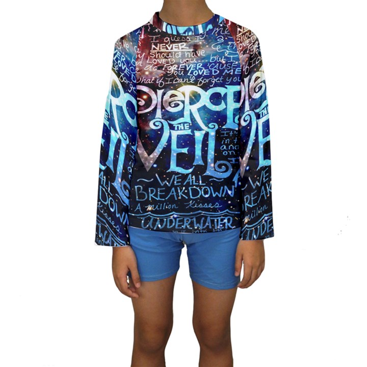 Pierce The Veil Quote Galaxy Nebula Kids  Long Sleeve Swimwear