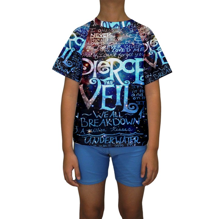 Pierce The Veil Quote Galaxy Nebula Kids  Short Sleeve Swimwear