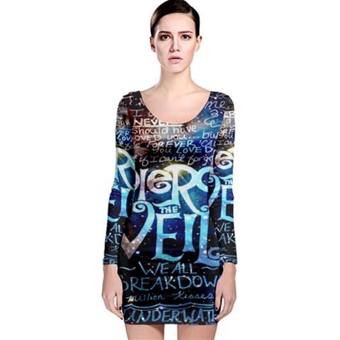 Pierce The Veil Quote Galaxy Nebula Long Sleeve Bodycon Dress