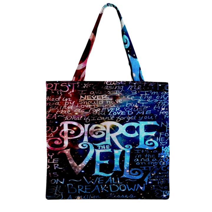 Pierce The Veil Quote Galaxy Nebula Zipper Grocery Tote Bag