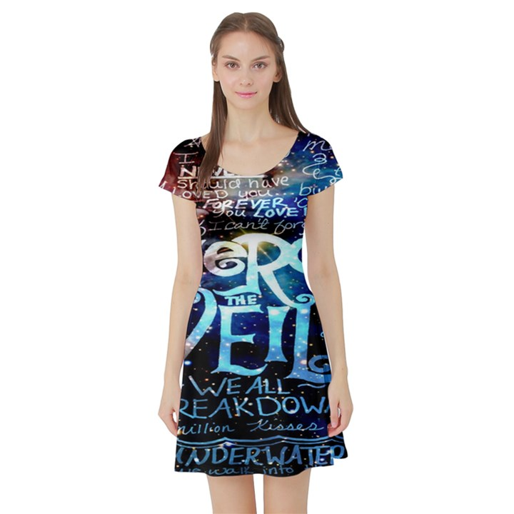 Pierce The Veil Quote Galaxy Nebula Short Sleeve Skater Dress