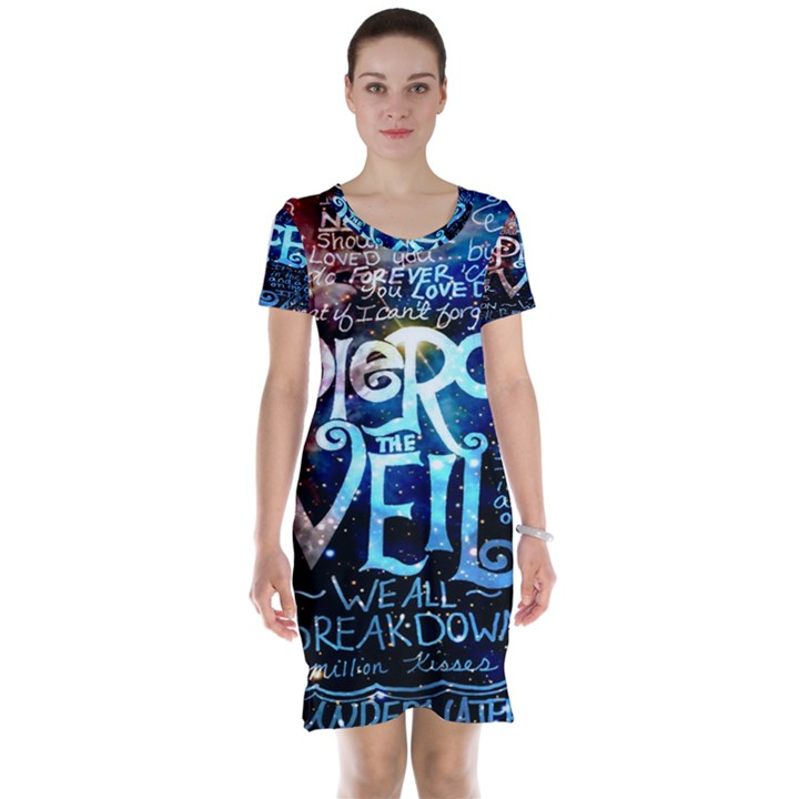 Pierce The Veil Quote Galaxy Nebula Short Sleeve Nightdress