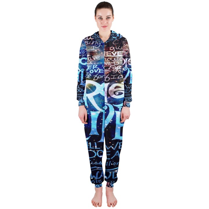 Pierce The Veil Quote Galaxy Nebula Hooded Jumpsuit (Ladies)