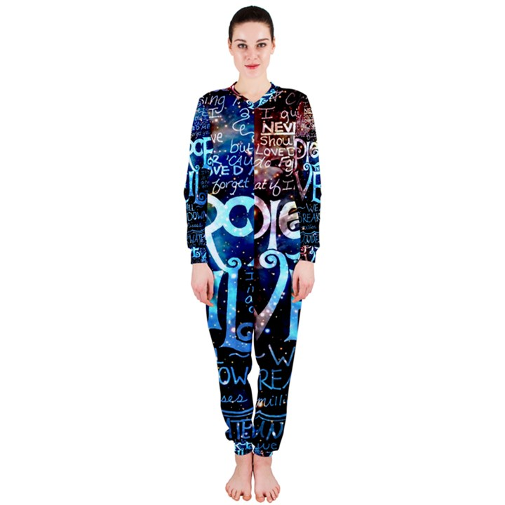 Pierce The Veil Quote Galaxy Nebula OnePiece Jumpsuit (Ladies)