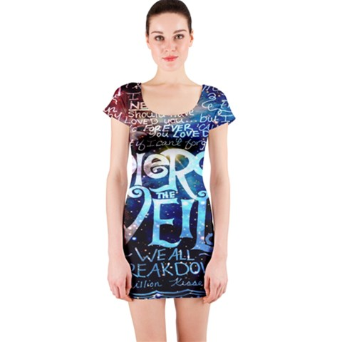 Pierce The Veil Quote Galaxy Nebula Short Sleeve Bodycon Dress