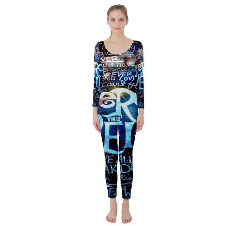 Pierce The Veil Quote Galaxy Nebula Long Sleeve Catsuit