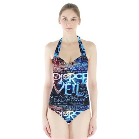Pierce The Veil Quote Galaxy Nebula Halter Swimsuit