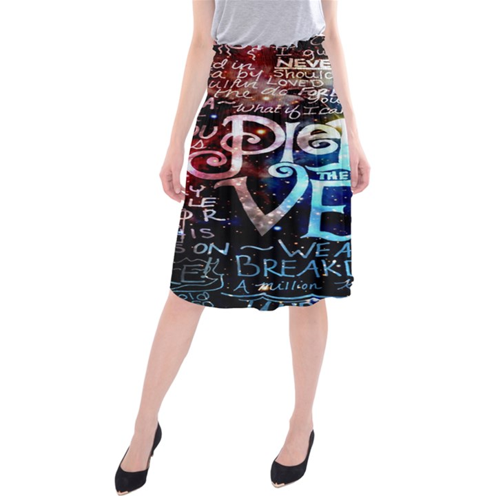 Pierce The Veil Quote Galaxy Nebula Midi Beach Skirt