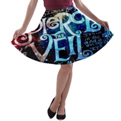 Pierce The Veil Quote Galaxy Nebula A Line Skater Skirt