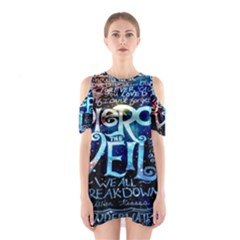 Pierce The Veil Quote Galaxy Nebula Cutout Shoulder Dress