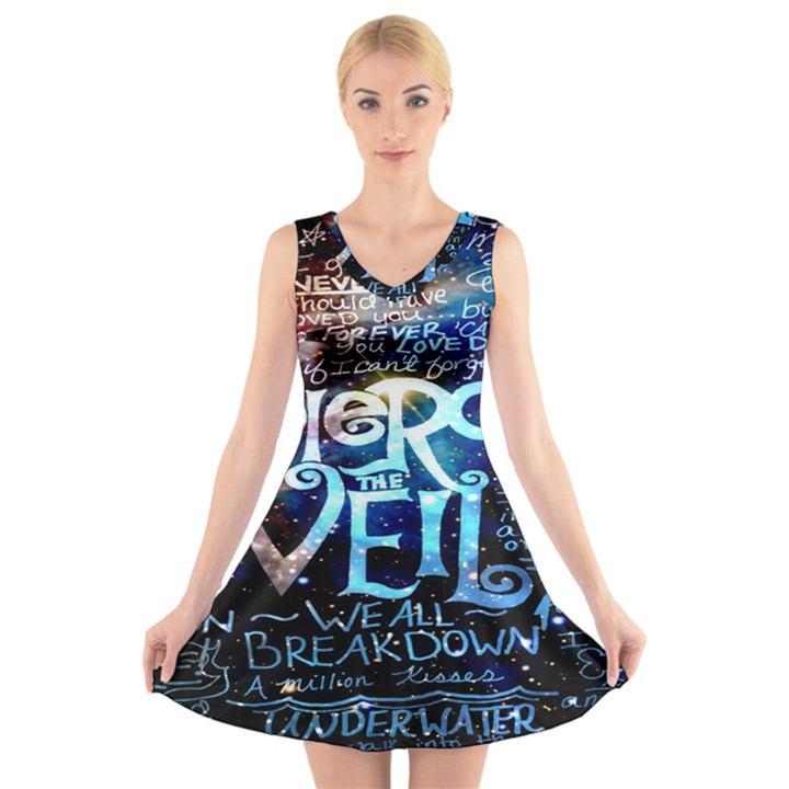 Pierce The Veil Quote Galaxy Nebula V-Neck Sleeveless Skater Dress