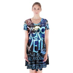 Pierce The Veil Quote Galaxy Nebula Short Sleeve V-neck Flare Dress