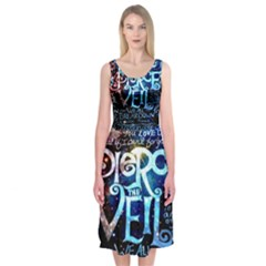 Pierce The Veil Quote Galaxy Nebula Midi Sleeveless Dress