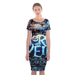 Pierce The Veil Quote Galaxy Nebula Classic Short Sleeve Midi Dress
