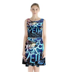 Pierce The Veil Quote Galaxy Nebula Sleeveless Chiffon Waist Tie Dress