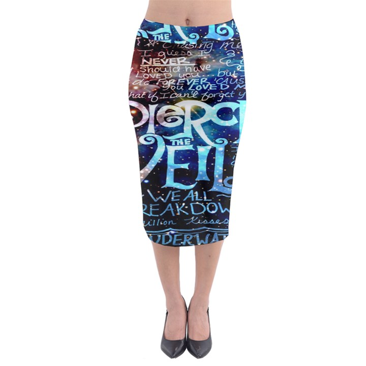 Pierce The Veil Quote Galaxy Nebula Midi Pencil Skirt