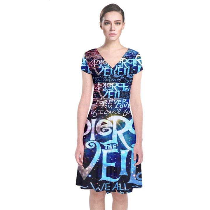 Pierce The Veil Quote Galaxy Nebula Short Sleeve Front Wrap Dress