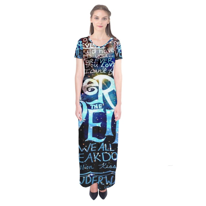 Pierce The Veil Quote Galaxy Nebula Short Sleeve Maxi Dress