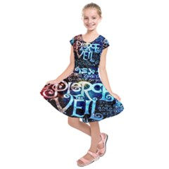 Pierce The Veil Quote Galaxy Nebula Kids  Short Sleeve Dress