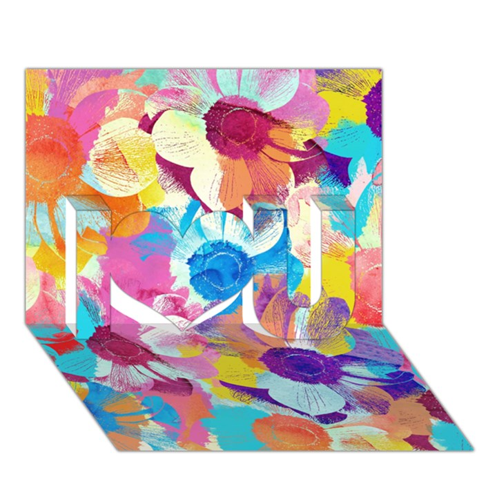 Anemones I Love You 3D Greeting Card (7x5)