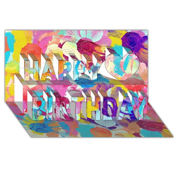 Anemones Happy Birthday 3D Greeting Card (8x4)