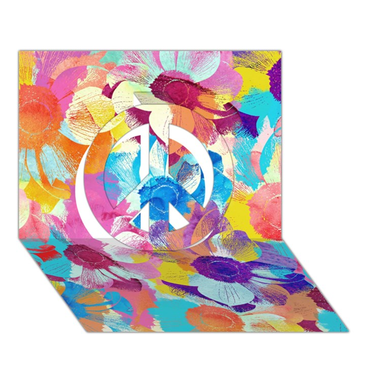 Anemones Peace Sign 3D Greeting Card (7x5)