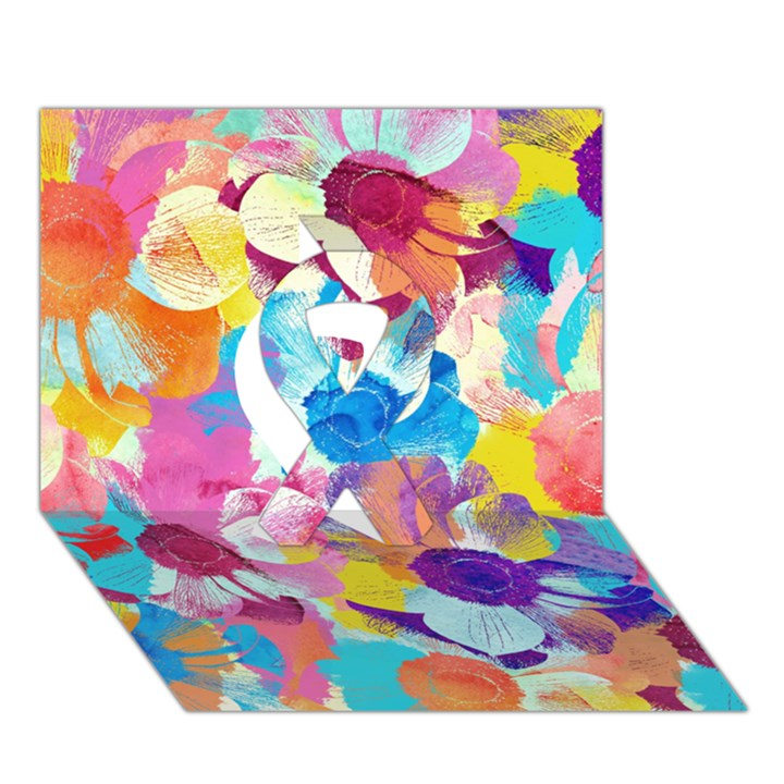 Anemones Ribbon 3D Greeting Card (7x5)