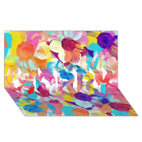 Anemones SORRY 3D Greeting Card (8x4)
