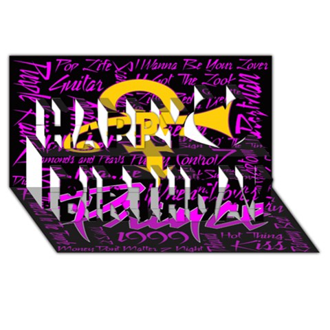 Prince Poster Happy Birthday 3D Greeting Card (8x4)