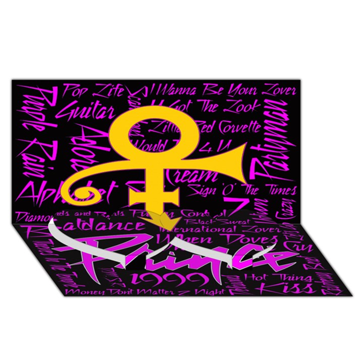 Prince Poster Twin Heart Bottom 3D Greeting Card (8x4)