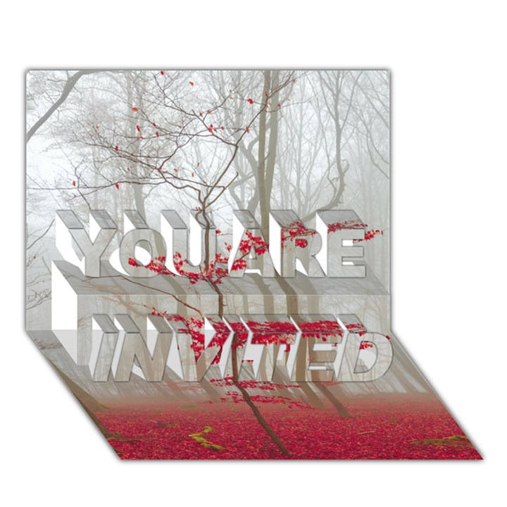 Magic forest in red and white YOU ARE INVITED 3D Greeting Card (7x5)