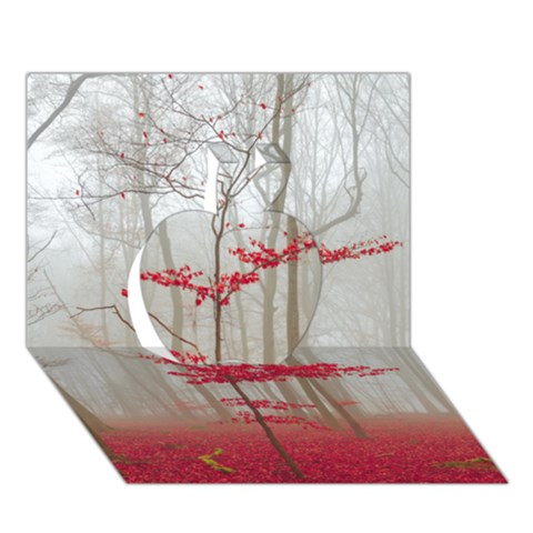 Magic forest in red and white Apple 3D Greeting Card (7x5)