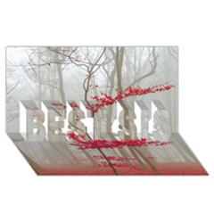 Magic Forest In Red And White Best Sis 3d Greeting Card (8x4)