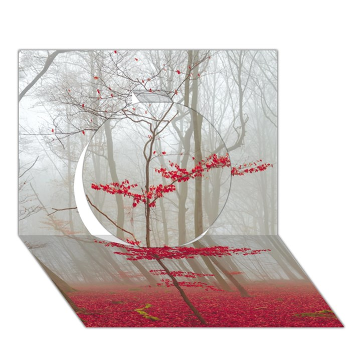 Magic forest in red and white Circle 3D Greeting Card (7x5)