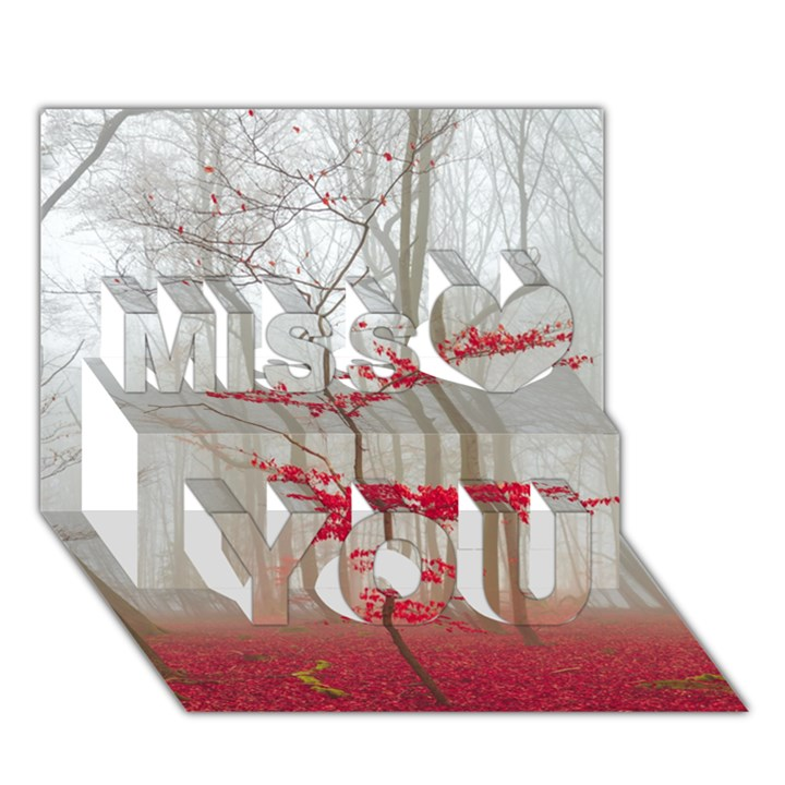 Magic forest in red and white Miss You 3D Greeting Card (7x5)
